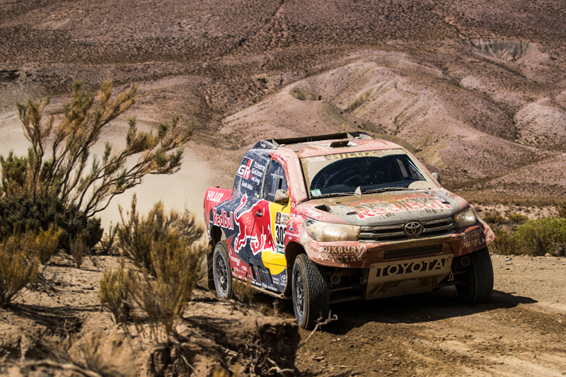 Giniel de Villiers (ZAF) of Toyota Gazoo Racing SA races during stage 4 of Rally Dakar 2017 from San Salvador de Jujuy, Argentina to Tupiza, Bolivia on January 5, 2017. // Flavien Duhamel/Red Bull Content Pool // P-20170105-01645 // Usage for editorial use only // Please go to www.redbullcontentpool.com for further information. //