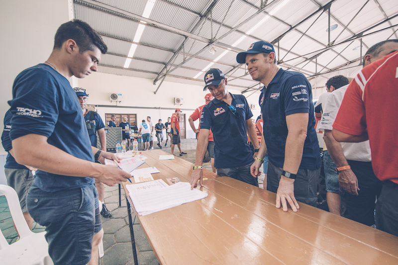 Giniel de Villiers and Dirk Von Zitzewitz (ZAF, DEU) of Toyota Gazoo Racing SA are seen  during the Rally Dakar 2017 technical verification in Asuncion, Paraguay on 31 December 2016
