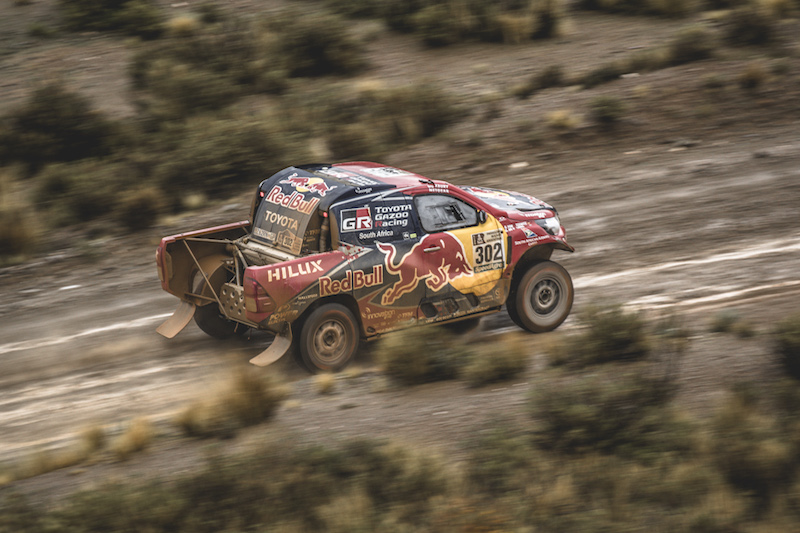 Giniel de Villiers (ZAF) of Toyota Gazoo Racing SA races during stage 5 of Rally Dakar 2017 from Tupiza to Oruro, Bolivia on January 6, 2017.